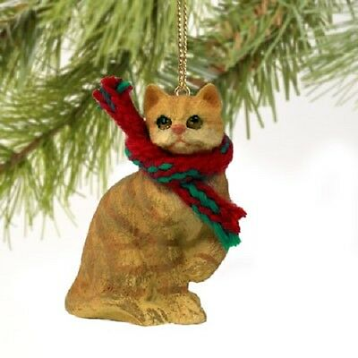 RED ORANGE CAT Ornament HANDPAINTED Resin Figurine CHRISTMAS kitty Tabby kitten