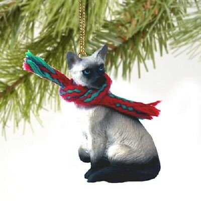 SIAMESE CAT Ornament HAND PAINTED Resin Figurine CHRISTMAS Holiday kitty kitten