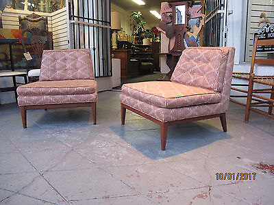 Single  Mid Century Modern Walnut Slipper Chairs Wormley McCobb Style