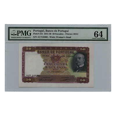 *jcr_m* PORTUGAL 50 ESCUDOS 25.11.1941 PICK# 154 PMG MS-64 *UNCIRCULATED*