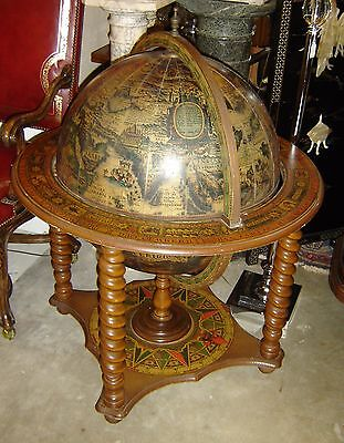 Italian Baroque Gothic With Antique Old World Map Huge Globe Bar Mid Century.