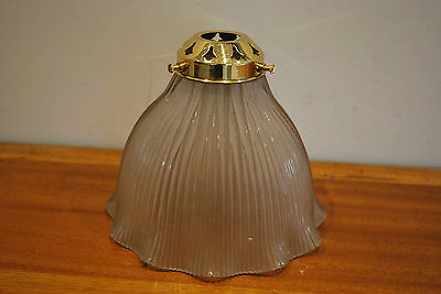 Stamped Original Holophane Glass Lampshade Light with brass Gallery. Vintage