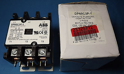 ABB DP60C3P-1 Definite Purpose Contactor 60 Amp 3 Pole 120V Coil ~New In Box~