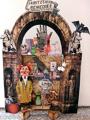 altered art mixed media apothecary pharmacy doctor mad scientist halloween
