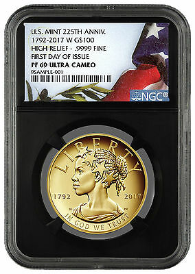2017-W Liberty High Relief Gold $100 NGC PF69 First Day Black Core SKU46511