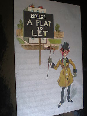 Old postcard cartoon creditor or estate agent used 1910