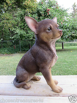 9 IN CHIHUAHUA DOG FIGURINE resin animal indoor outdoor statue PET PUPPY sitting