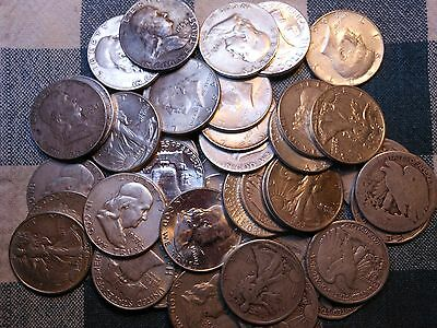 2 Rolls 90% Silver Liberty-Franklin-Kennedy-Half Dollars-$20 Face Value-40 Coins