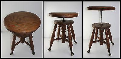 Antique Solid Oak Adjustable Organ Piano Stool w Glass Ball Clawfeet Turned Legs