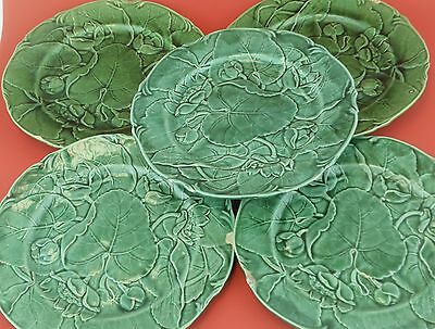 J ADAMS Green Majolica Waterlily and Leaf Plates Set of 5 with Issues