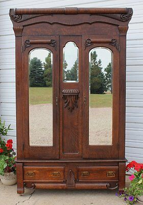 Antique 3 Mirror Knock Down Quartersawn Tiger Oak Wood Wardrobe Armoire Vintage