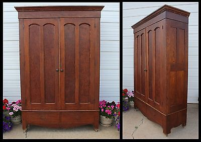 Antique Cathedral Double Door Knock Down Oak Wood Wardrobe Armoire Easy Haul