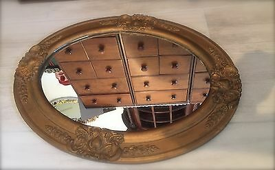 """ANTIQUE GOLD GESSO Wood Oval Wall Mirror ~ 25"""" x 19"""""""