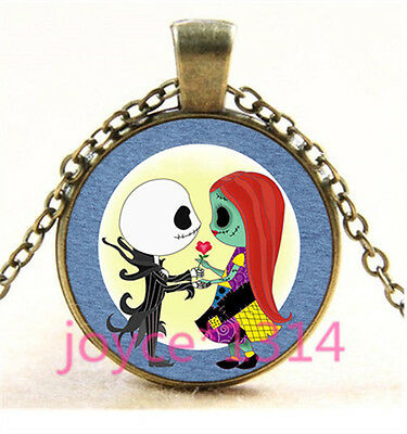 Nightmare Before Christmas Cabochon bronze Glass Chain Pendant Necklace TS-4756