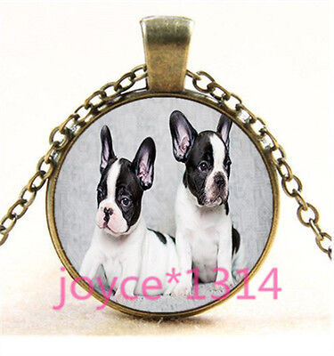 Vintage French Bulldog Cabochon bronze Glass Chain Pendant Necklace TS-6059