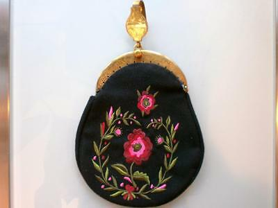 Authentic NEW HAND EMBROIDERED NORWEGIAN BUNAD PURSE  with used brass hardware