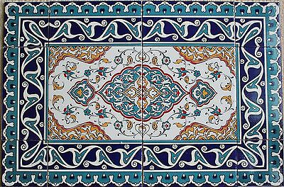 "16""x24"" Turkish Iznik Floral Pattern Border Ceramic Tile Mural Panel Set"