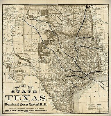 Old Map of Texas 1876 Vintage Historical Wall map, antique, OLD WEST TX wall art