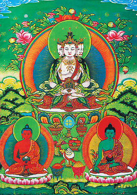 "* 32"" Brocaded Scroll Tibetan Thangka Vairocana Buddha Upmost One In Vajaryana ="