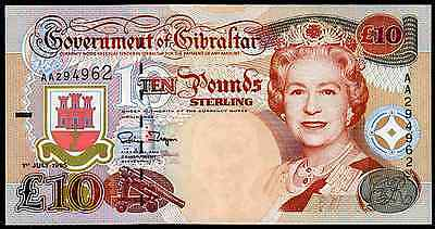 Gibraltar, Ten Pounds, 1995, Almost Uncirculated-Uncirculated.