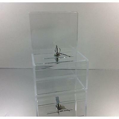 Dazzling Displays Clear Acrylic Mini Donation Box with Cam Lock and (2) Keys New