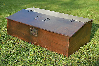 Original 18th century antique table top desk box oak plank bible box initials LP