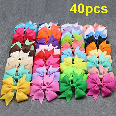 40PCS Handmade Bow Hair Clip Alligator Clips Girls Ribbon Kids Sides Accessories