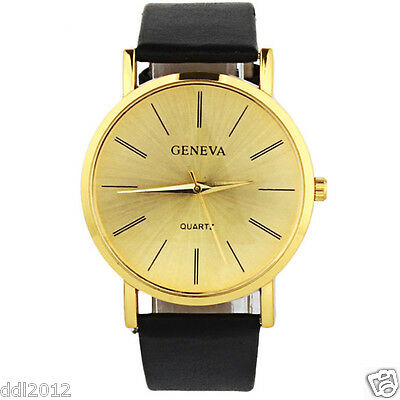 Geneva Fashion Men's Women's Watches Leather Band Gold Casual Wrist Watches New