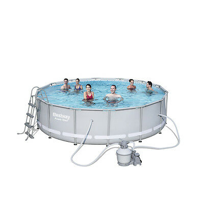 """Bestway 14ft x 42"""" Power Steel Above Ground Swimming Pool + Sand Filter (56644)"""