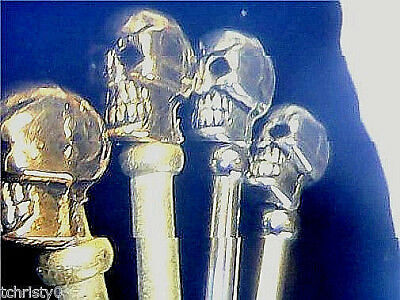 4 Cribbage Metal Pegs,  Avenger Tibetan Silver Skull-Top 2-ea. Gold and Silver a