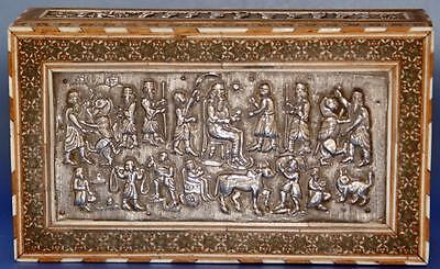 Vintage Persian Middle East Islamic  Khatam Marquetry Silver Inlay Box