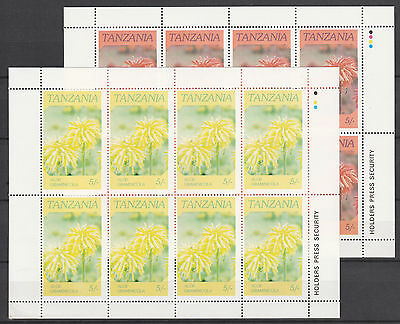 Tanzania 3462 - 1986 FLOWERS 5s RED  OMITTED sheetlet of 8 plus normal u/m