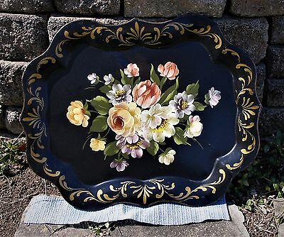 Vtg TOLE Toleware LRG TRAY Handpainted Roses FLORAL 24 x 19.5 Inches Black Metal
