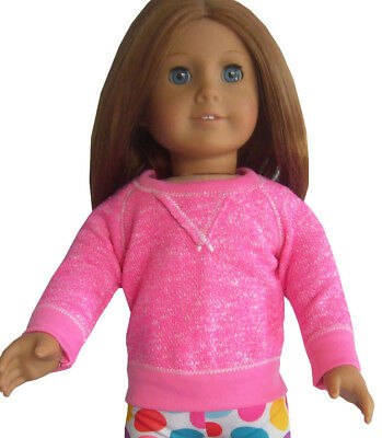 """Doll Clothes fits 18"""" American Girl Hot Pink Sweatshirt Slouchy Top Shirt"""