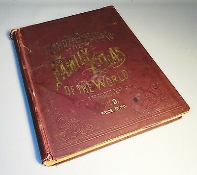 Antique 1892 Rand McNally New Family Atlas Of The World Indexed 321 Pages