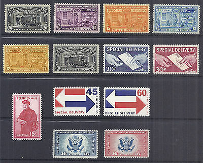 1925-1971 US Airmail Special Delivery Certified Lot of 13 MNH E14-E23 CE1-2 FA1*