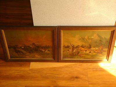 Rare Pair Of Antique American Saloon Lithograph Pictures Cowboy Indians C1880.