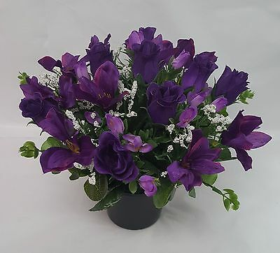 Artificial Flowers All Round Grave Arrangement Alstro Rosebud Purple