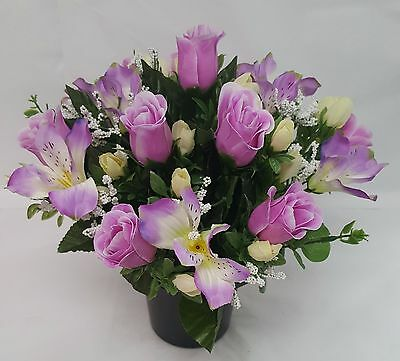 Artificial Flowers All Round Grave Arrangement Alstro Rosebud Lilac