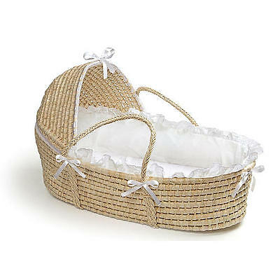 New Badger Basket Natural Moses Basket with Hood and White Bedding