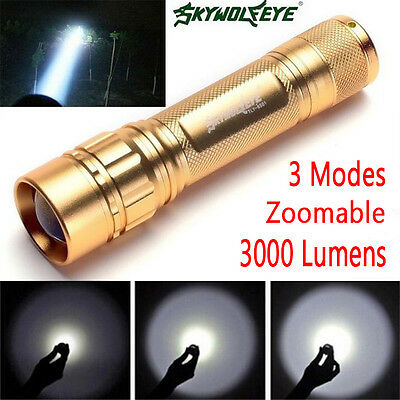 Tactical 3000Lm CREE XML Q5 LED Focus Flashlight 18650 Focus Lamp Zoomable Torch