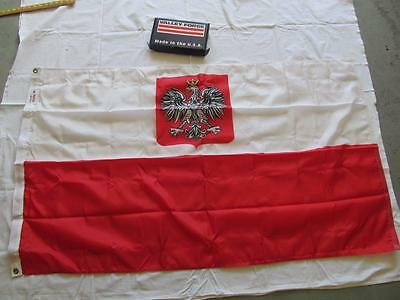 NEW NIB POLAND POLISH FLAG WITH EAGLE 3'x5' VALLEY FORGE USA COMMERCIAL GRADE