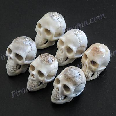 "6PCS LOT 7/8"" HAND CARVING DEER ANTLER SKULL BEAD CAB cabochon"