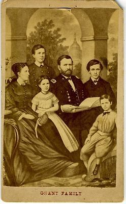 Cdv- Civil War –General Grant And Family.