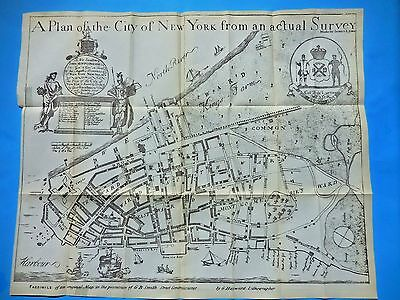 "1728 ANTIQUE  MAP NEW YORK CITY, ""THE BRADFORD MAP""  from VALENTINES MANUAL 1851"