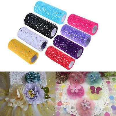 25 yards Glitter Sequin Tulle Roll Spool Tutu Gift Wrap Ribbon Wedding Bow Decor