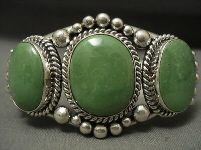 """Real And Authentic Gaspeite Navajo Sterling Silver """"""""tri-Stone"""""""" Bracelet"""