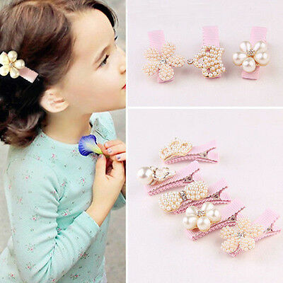 Baby Girl Kids Princess Crown Pearl Flower Hair Clip Hairpins Hair Accessories