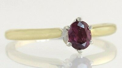 Antique Vintage Art Deco 14K Two Tone Gold .55ct Genuine Ruby Solitaire Ring