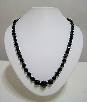Antique VICTORIAN Faceted WHITBY JET Graduated BEAD MOURNING NECKLACE c.1880 25""